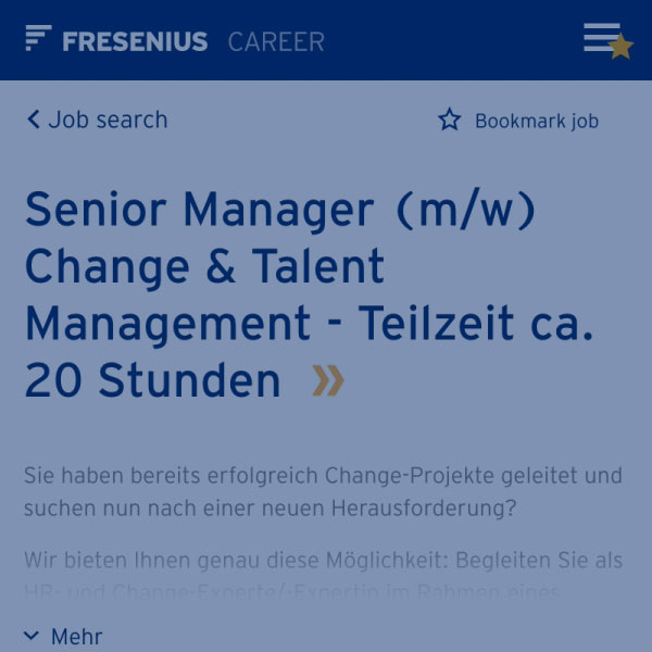 Your application | Fresenius Careers